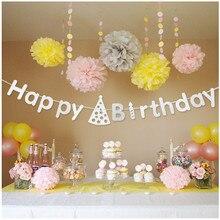 4pcs 3meter silver cardboard happy  birthday flag garland banner DIY Party Decoration