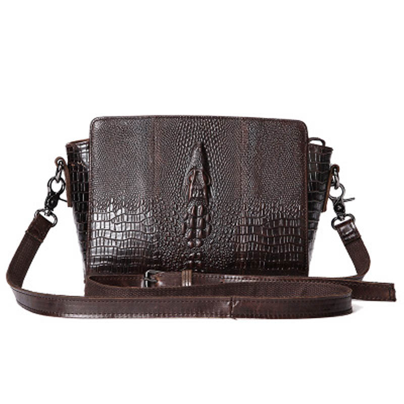 Vintage Fashion Alligator Pattern Women Shell Shoulder Bags Oil Wax Genuine Leather Crossbody Messenger Bags For Women LS0131