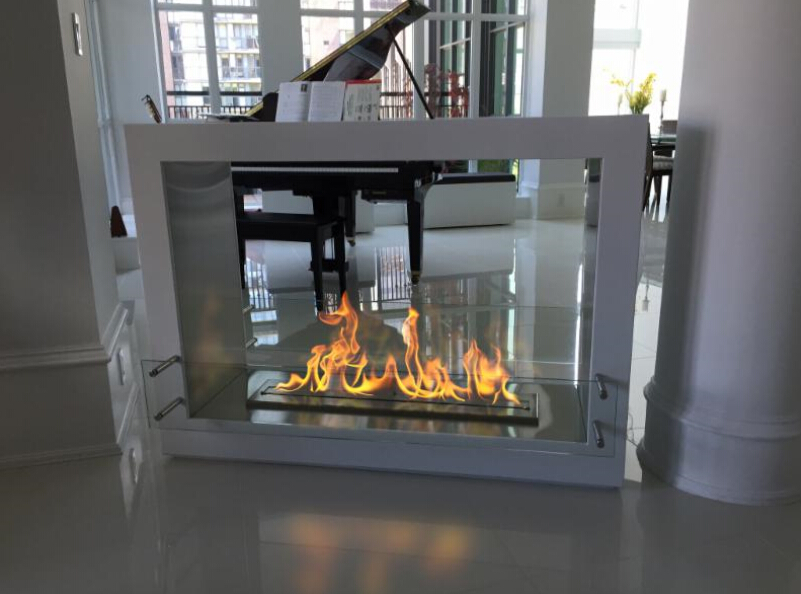 Free Shipping To Door 18 Inch Long Silver Or Black Remote Control Modern  2 Sided Eletric Fireplace