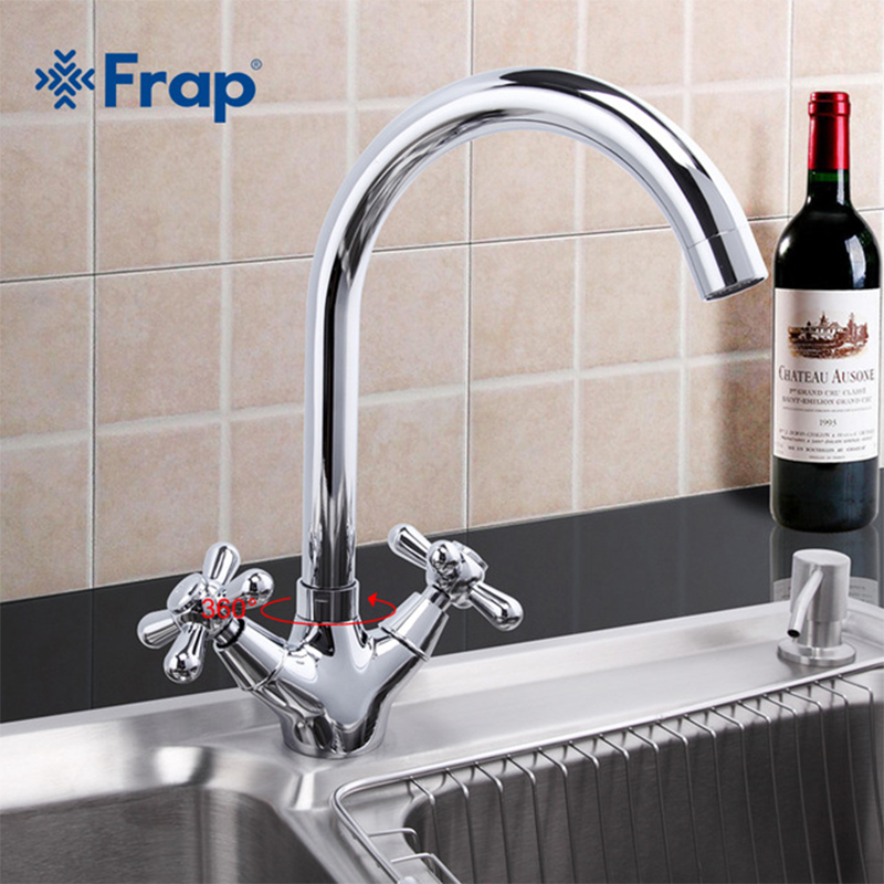 Frap New Deck Mounted Brass Torneira Cozinha Kitchen Faucets Hot and Cold Water Chrome Basin Sink Taps Mixers Dual Handle F4025 смеситель frap f4025