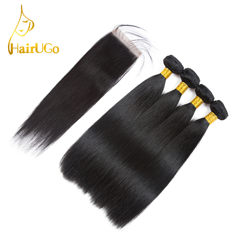 HairUGo Hair Pre-colored Hair Indian Straight Hair 4 Bundles With Closure Human Hair Extensions Non Remy Hair Free Shipping #1B