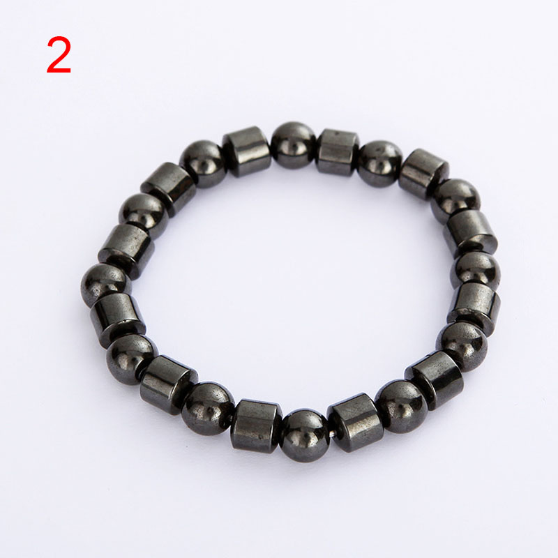 Men Women Magnetic Bracelet Black Hematite Stone Therapy Health Magnet Natural Beads Bangle Jewelry LL@17
