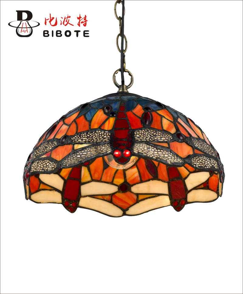 Tiffany Pendant lights Creative Art Red Dragonfly Glass Hanging Lamp Living Room Hotel Kitchen Light Fixture Free Shipping tiffany parrot corridor lamp hanging creative decorative lamp handmade art limited special lamp df42