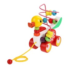 Wooden Toys for Children Kids Multicolour Creativity Duckling Trailer Around Beads Wood Toys Puzzle Baby Child
