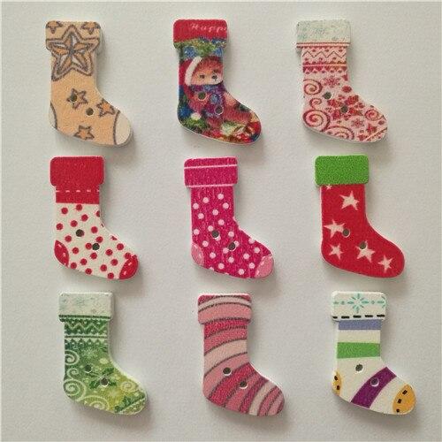 50 шт смешанные животные 2 отверстия деревянные пуговицы для скрапбукинга поделки DIY Детские аксессуары для шитья одежды пуговицы украшения - Цвет: Christmas socks