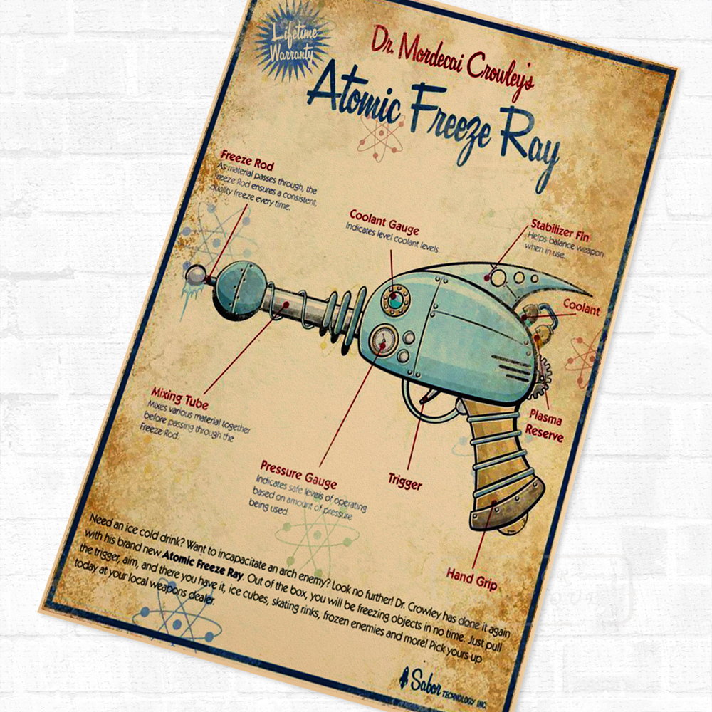 small resolution of sci fi atomic ray map robot classic vintage retro kraft poster decorative diy wall canvas sticker home bar art poster decoration