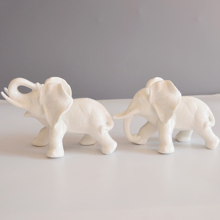 White Ceramic Elephant Home Decor Crafts Room Decoration Kawaii Ornament Porcelain Figurines Animal In Miniatures