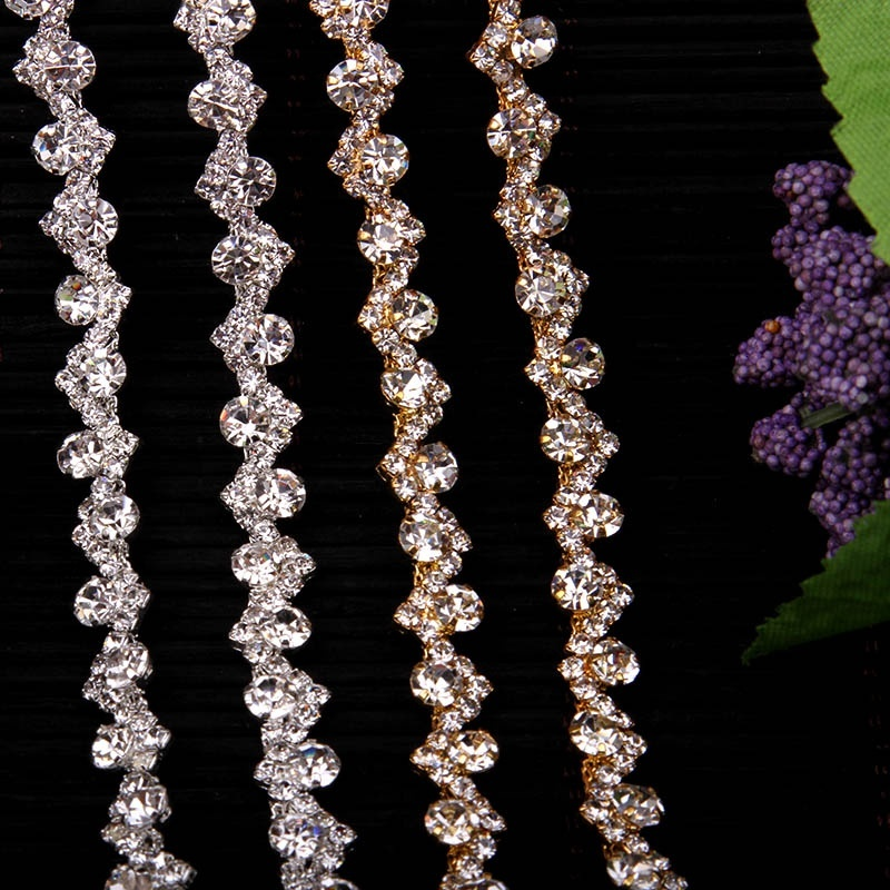 Free Shipping 5yards Rhinestone crystal Chain Bridal Sash Rhinestone Applique, Wedding Applique,Rhinestone Trimming LSRT054
