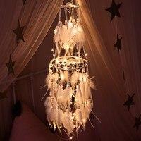 Большой светодиодный звездный свет Ловец снов с белыми перьями петуха жемчуг Ловец снов настенный, для дома вечерние украшение для свадьбы ...