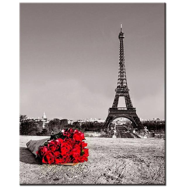 Torre rosas DIY 5D diamante bordado flores rojas del grano completo ...