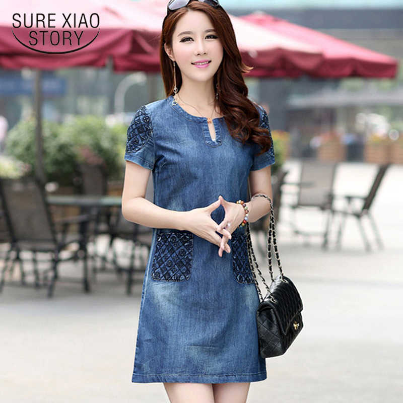 7ec23ab48b 2018 short sleeve summer dress Fashion elegant women dress lady slim plus  size blue female Denim