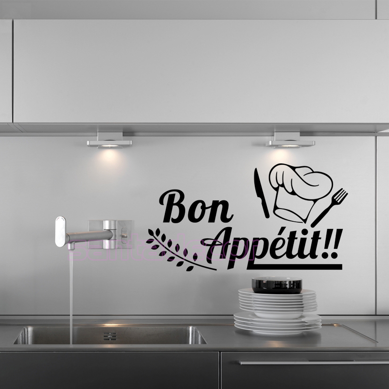 Vinyl wall Sticker Bon Appetit mural decals Removable art wallpaper for Kitchen & dining Room Home Decor House Decoration30x59cm