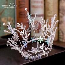 HIMSTORY серебряная тиара и короны бабочка Снежинка Рождественская Принцесса круглая диадема повязка ручной работы свадебные аксессуары для волос