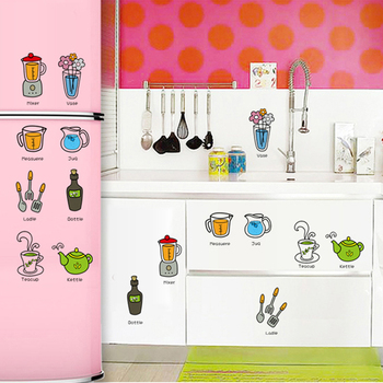 Home decor waterproof kitchen sticker removable cartoon refrigerator door stickers adhesive vinyl decals on the wall