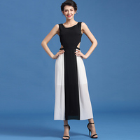 Classic summer party ball night club dinner office work dating ceremony pleated blank white patchwork hollow long dress