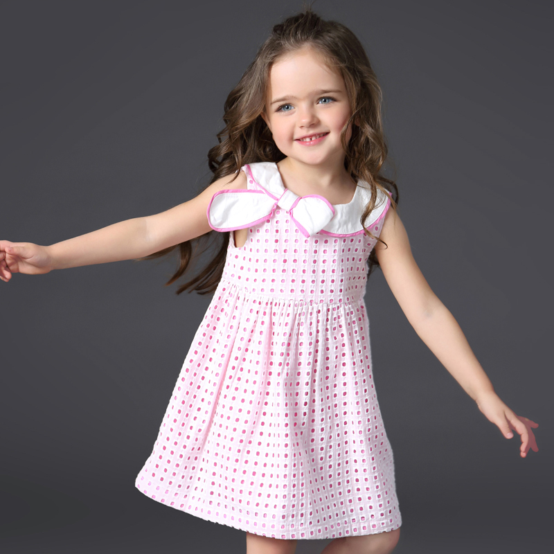 Kids Baby Girls Summer Little Dresses Children Pink Plaid Dress Cotton Clothes Princess Frock Dress for 2 3 4 5 6 Years Girl little maven 2017 new summer baby girls floral print dress brand clothes kids cotton duck rabbit printing dresses s0136