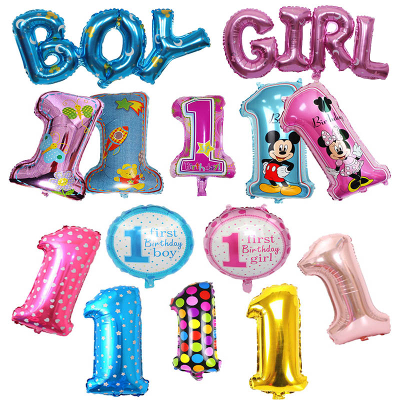 Baby 1 First Birthday Girl Boy Balloons Kids One Year Old Birthday Balloon Foil Number Balloons Children Party Decorations Gift