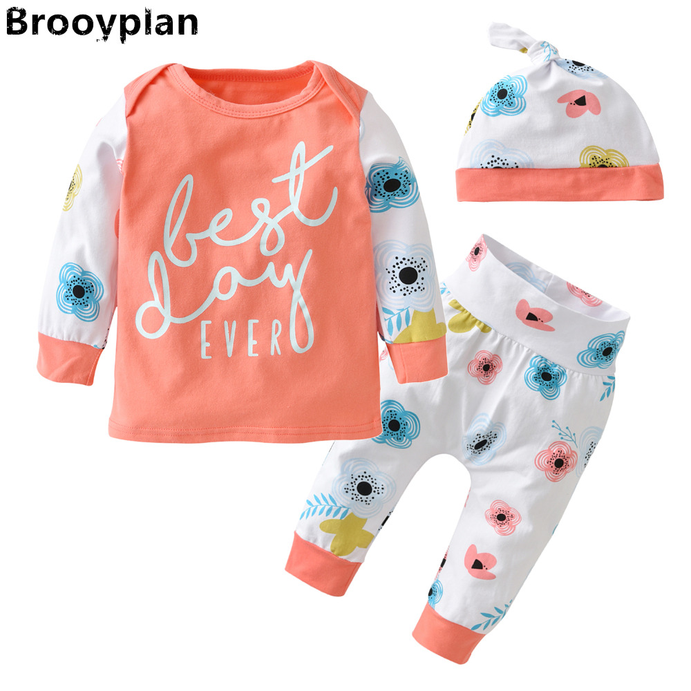 2018 Autumn Style Baby Girls Newborn Clothes Cotton Long sleeves Lovely Flowers Patchwork Top+Pants+Hat 3pcs Infant Clothing Set