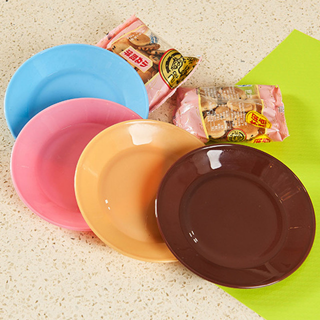 Free Shipping Food Grade Plastic Plate Colorful Cute Mini Dish For Snack Small Saucer Color Random : cute plastic plates - pezcame.com