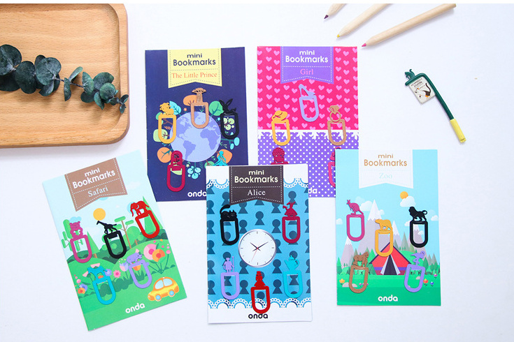 5pcs/set Creative Mini Metal Bookmark Decoration Paper