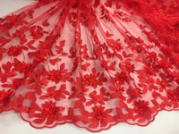 High class red applique 3D french embroidery polyestor tulle mesh lace for wedding/evening dress/party.High quality.Pg122