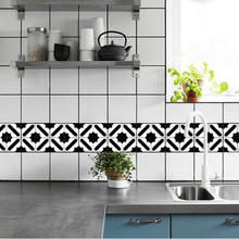 Kitchen Decor 15*15cm/20*20cm Self Adhesive Wall Art Wallpaper Furniture DIY Black and White Moroccan Tiles Sticker Wall Deca diy dupont lines set black white 20cm 20 pcs