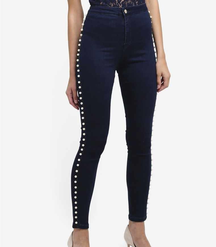 CatonATOZ 2179 kobiet duży Plus rozmiar wysoka talia Side Pearl dżinsy Skinny spodnie jeansowe spodnie Jeansy ze streczem dla kobiet