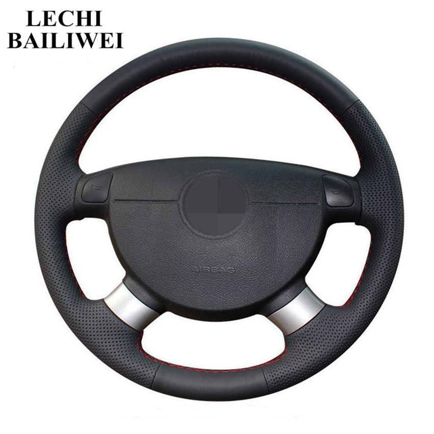 DIY Black Artificial Leather Car Steering Wheel Cover for the chevrolet <font><b>aveo</b></font> LOVA buick Excelle daewoo gentra <font><b>2013</b></font> 2015 lacetti image