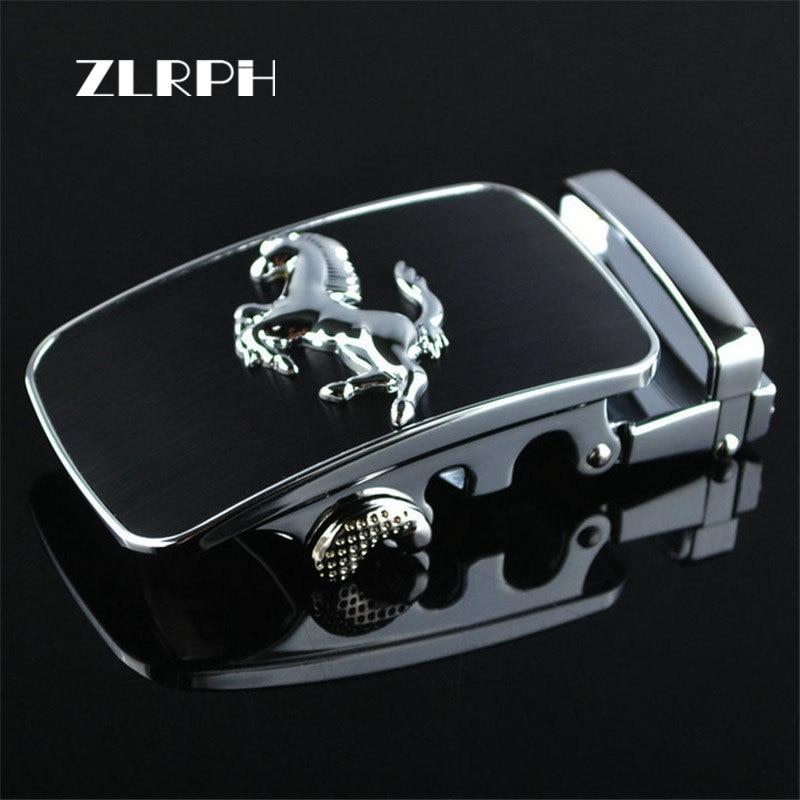 ZLRPH 2018 New Fashion Designer Belts For Men Buckle Ratchet Luxury Men Belt Automatic Wholesale Black Horse