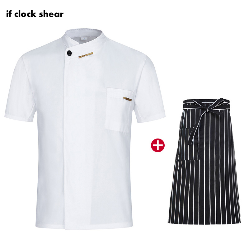 Restaurant Work Uniforms Kitchen Catering Casual Soft White Waitress Chef Jacket Apron M-4XL Summer Men's Professional Clothing
