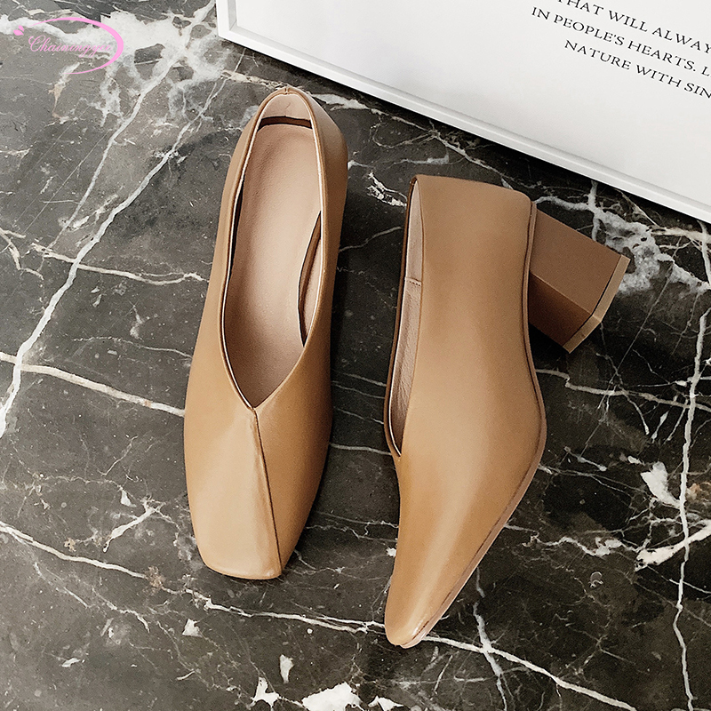 Chinese office work style comfortable natural leather pump fashion slip-on beige apricot thick high-heel women's shoes