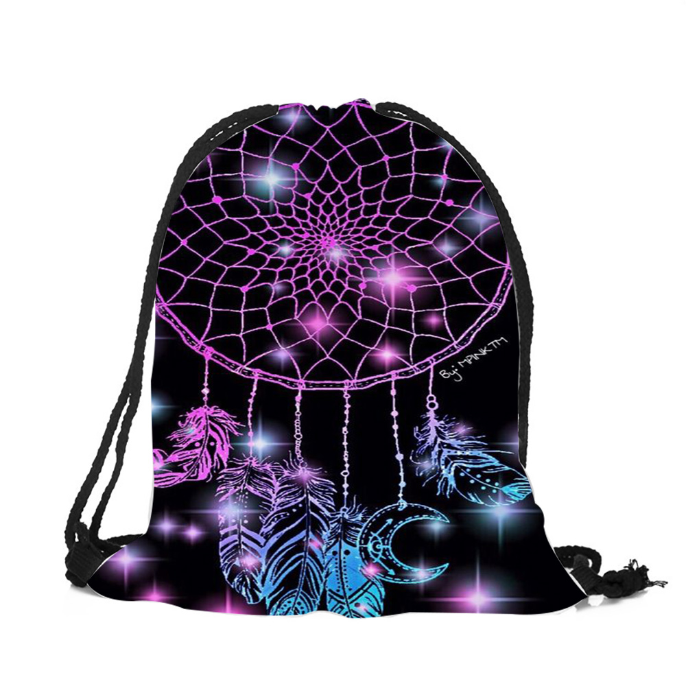 3D Printing Dream Catcher Colorful Feathers Woman Drawstring Backpack Girls Boys School Drawstring Bag Soft Polyester Bags