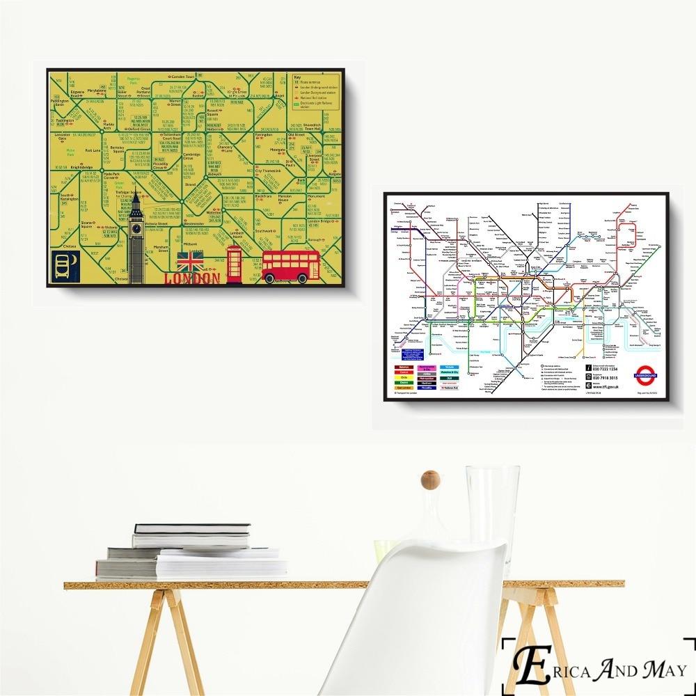 Nova iorque londres mapa do metrô arte da parede do vintage pintura em tela cartaz para decoração de casa cartazes e impressões sem moldura decorativa imagem