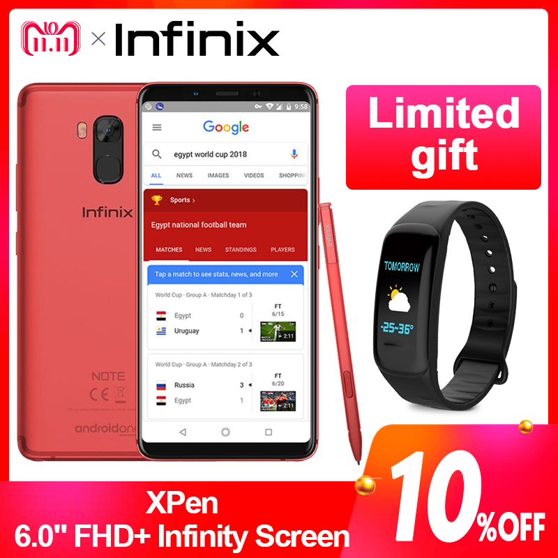 Mondial Version Infinix NOTE 5 STYLET SmartPhone Affaires 64G 4G 6.0