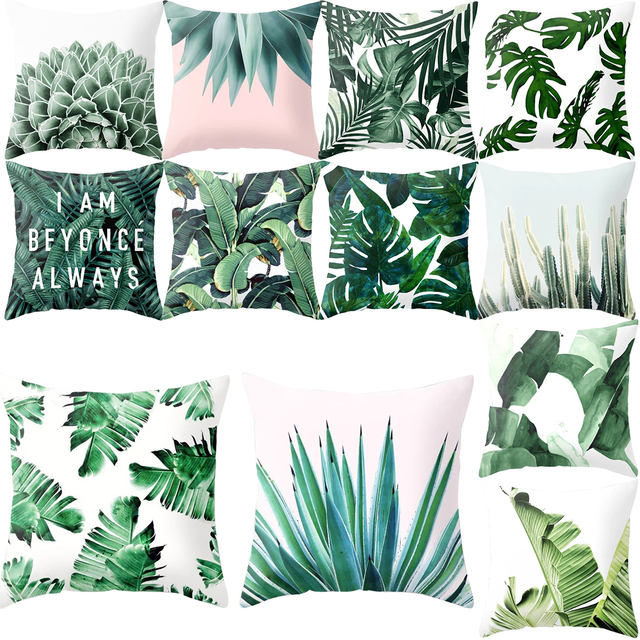 Cactus Verde Foglie di Fodere per Cuscini Piante Tropicali Copertura del Cuscino