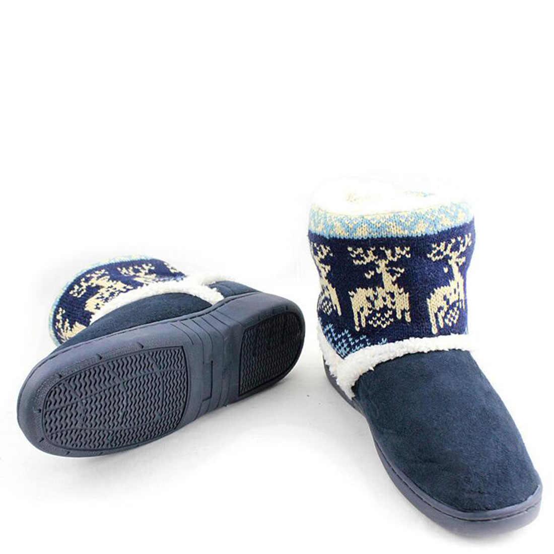 Принт с оленем зимние пинетки женское утепленное плотное Лось Для женщин пара ботильоны плюшевые сапоги на меховой подкладке домашние Невысокие туфли