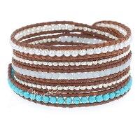 Lotus Mann Colorant perles amazonite trésor et cinq tours argent nature des particules de brun en cuir cordon bracelet 0825
