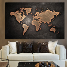 YWDECOR Abstract 3D World Map Canvas Painting Classical Black Print On for Office Room Picture Wall Art Decor