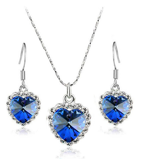 Free Shipping Gift Bag Titanic Rose classic Blue Austrian Crystal The Ocean Heart Pendant Necklace earrings fashion jewelry set
