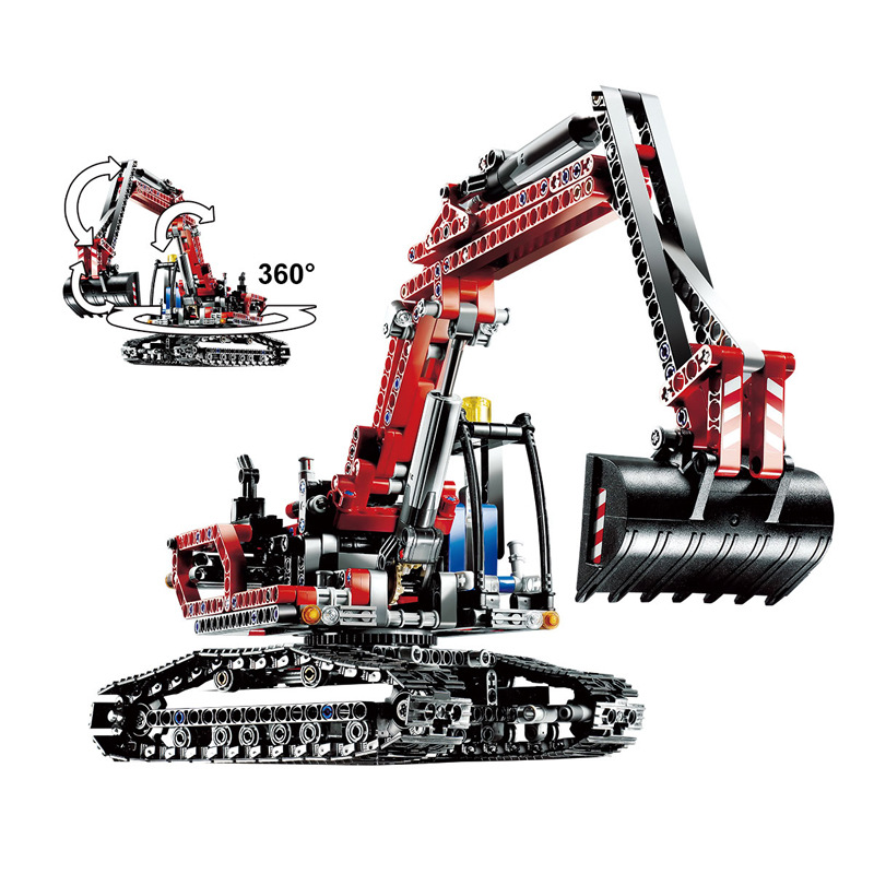 New Technic Series Mechanical Red Excavator City Building Blocks Bricks DIY Toys Model Gift Kids Compatible LegoINGly Technic loz smartable technic series red excavator diy building brick blocks toys compatible with legoingly technic car gift toy to kid