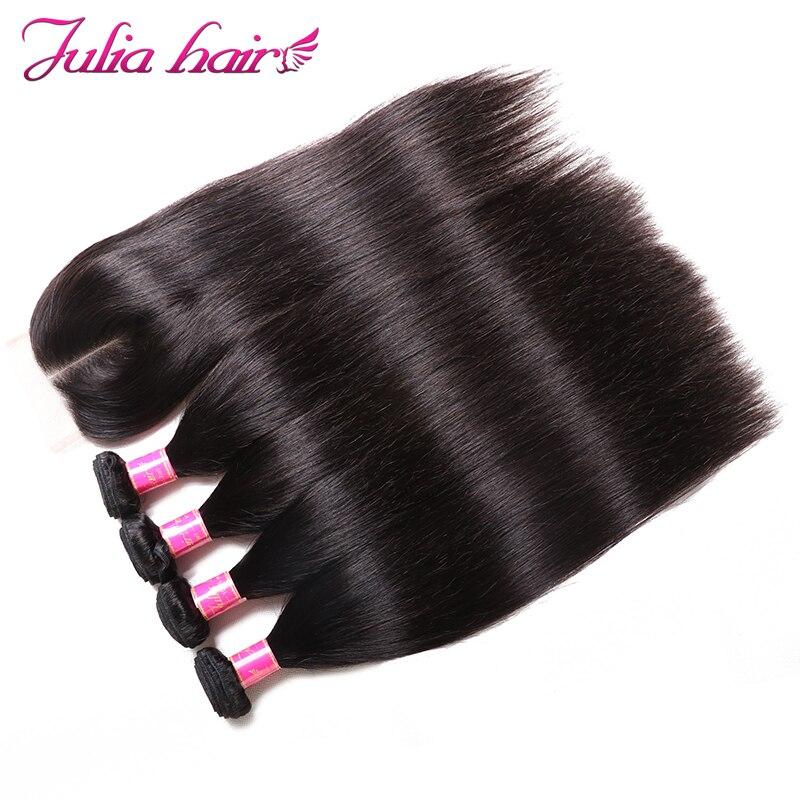 Ali Julia Brazilian Straight Hair Weave Bundles With Closure 4 Bundles 1 Lace Closure Free Middle
