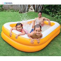 Large size pure color yellow luxurious rectangular plastic double double family inflatable swimming pool marine pool