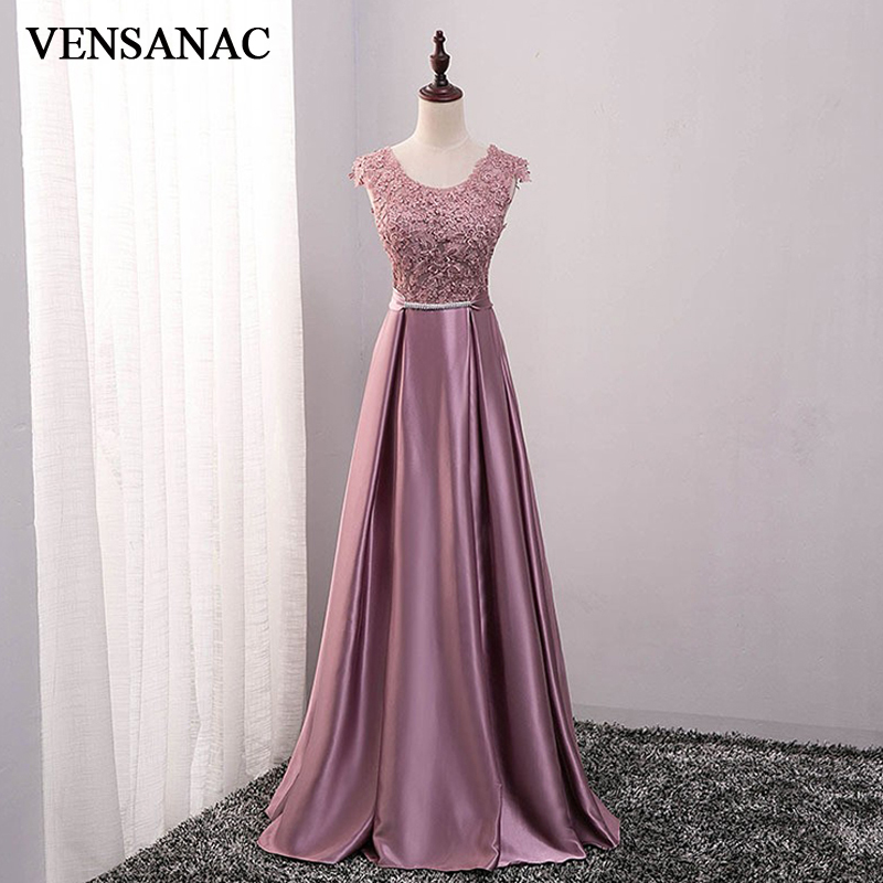 VENSANAC A Line Bow O Neck Embroidery Satin Long   Evening     Dresses   2018 Lace Elegant Party Crystals Sash Prom Gowns