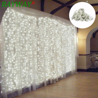 RAYWAY 600leds fairy string icicle led curtain light 220v 110V 6M*3M bulb Outdoor Home Xmas Christmas Wedding garden party