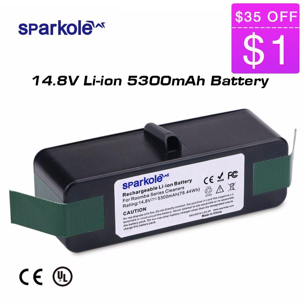 Sparkole 5300 mAh 14.8 V batterie li-ion pour iRobot Roomba 500 600 700 800 Série 510 531 550 560 580 620 630 650 770 780 870 880