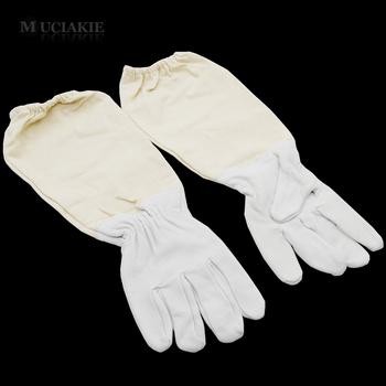 MUCIAKIE 1 para z owczej skóry rękawice pszczelarskie z rękawem Canvas rękawice ochronne pszczoła odzież ochronna akcesoria tanie i dobre opinie Sheepskin and Cotton Pszczelarstwo Rękawice
