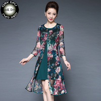 2018 summer Womens Elegant Sexy Floral embroidery Lace Patchwork Vintage Party fake two piece A-line Dress