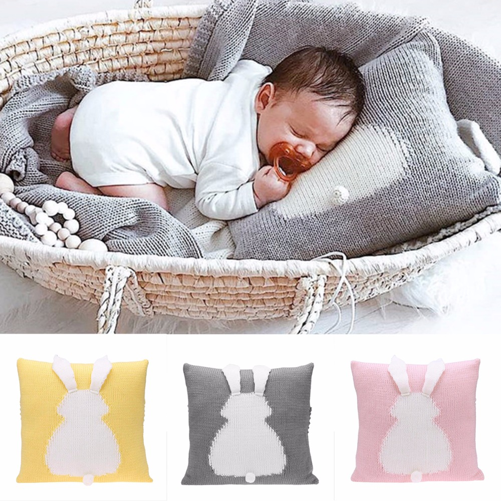Cartoon 3D Rabbit Kids Chair Seat Cushion Cover Baby Knitted Crochet Sofa Bed Home Decor Pillowcase Photography Prop Baby Pillow