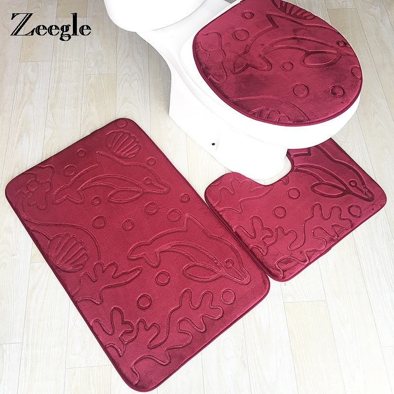 Zeegle Memory Sponge 3pcs/set Toilet Mats Anti-slip Absorbent Bathroom Rugs 3D Dolphin Printed Floor Mats Toilet Rug Set