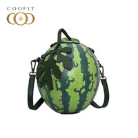 Coofit Stylish Crossbody Bag For Women PU Leather Watermelon Shaped Printing Lovely Girls Shoulder Bag Individual